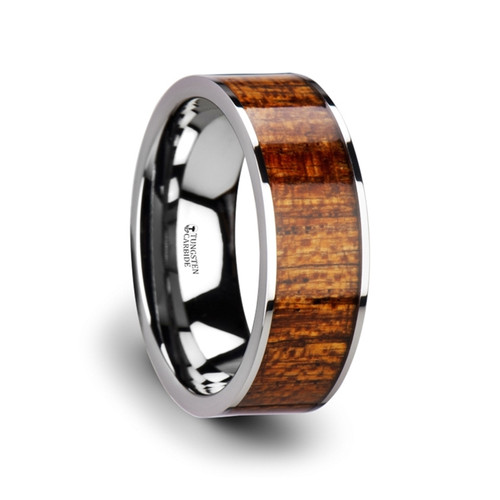 Crustane Flat Tungsten Carbide Band with Exotic Mahogany Hard Wood Inlay at Rotunda Jewelers