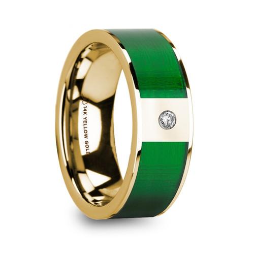 European Polished 14k Yellow Gold Men's Diamond Wedding Band with Textured Green Inlay at Rotunda Jewelers