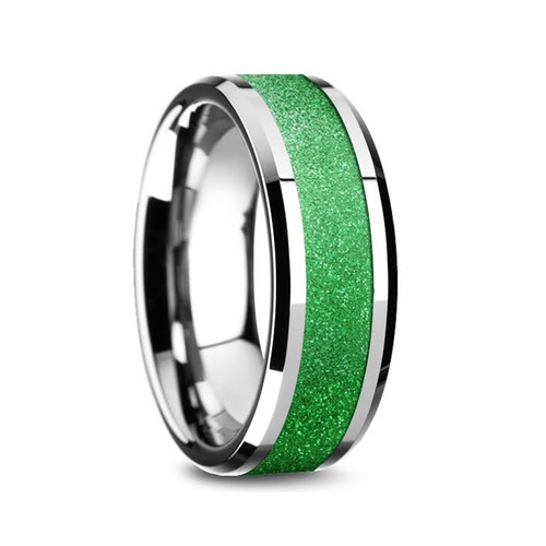 Dwarf Tungsten Carbide Men's Band with Sparkling Green Inlay at Rotunda Jewelers