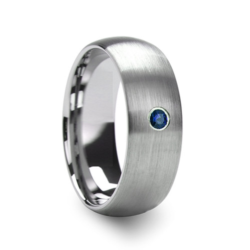 Freesia Men's Domed Brushed Tungsten Wedding Band with Blue Diamond at Rotunda Jewelers