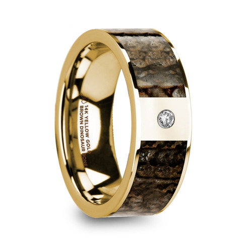 Canna Polished 14k Yellow Gold Men's Wedding Band with Diamond and Genuine Brown Dinosaur Bone Inlay at Rotunda Jewelers