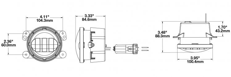 JW Speaker 6145 J2 LED Fog light dimensions