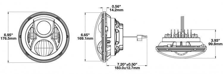 Model 8700 Evo 2 Dual Burn LED Headlights Size