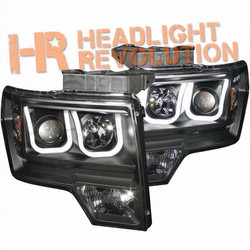 Anzo Ford F-150 09-14 Projector Headlights with U-Bar - Black Housing