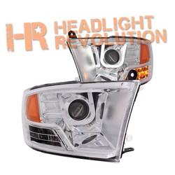 Anzo Dodge Ram 1500 09-17, 2500/3500 10-17 Projector Headlights with U-Bar - Chrome Housing