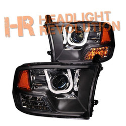 Anzo Dodge Ram 1500 09-17, 2500/3500 10-17 Projector Headlights with U-Bar - Black Housing