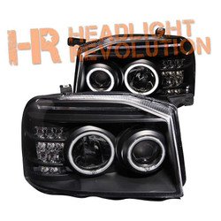 Anzo Nissan Frontier 01-04 Projector Headlights with Halo - Black Housing