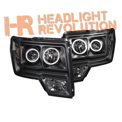 Anzo Ford F-150 09-14 Projector Headlights with Halo - Black Housing