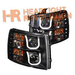 Anzo Chevy Silverado 07-13 1500/2500HD/3500HD Projector Headlights with U-Bar - Black Housing