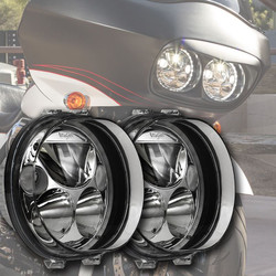 "Vision X TWO 5.75"" BLACK CHROME OVAL VORTEX LED HEADLIGHT W/ LOW-HIGH-HALO"