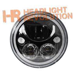 "Vision X SINGLE 7"" ROUND VORTEX BLACK-CHROME FACE LED HEADLIGHT W/ LOW-HIGH-HALO"