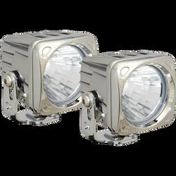 Vision X OPTIMUS SQUARE CHROME 1 10W LED 20 Degree MEDIUM 2 LIGHT KIT