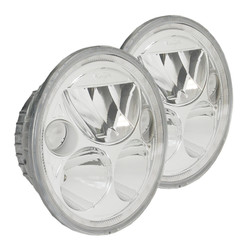 "Vision X KIT OF TWO POLISHED CHROME FACE 5.75"" ROUND VORTEX LED HEADLIGHT W/ LOW-HIGH-HALO"
