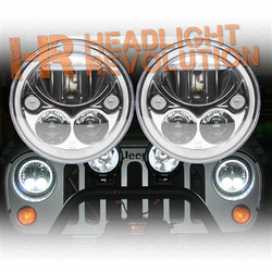 "Vision X JEEP JK HEADLIGHTS - PAIR OF 7"" CHROME ROUND VORTEX LED HEADLIGHT W/ LOW-HIGH-HALO INCLUDING ANTI-FLICKER ADAPTER"