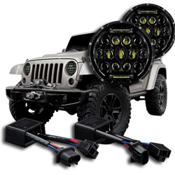 2007 - 2017 Jeep Wrangler JK LED Headlight Kit - Oracle 75w Projector LED + Anti-Flicker