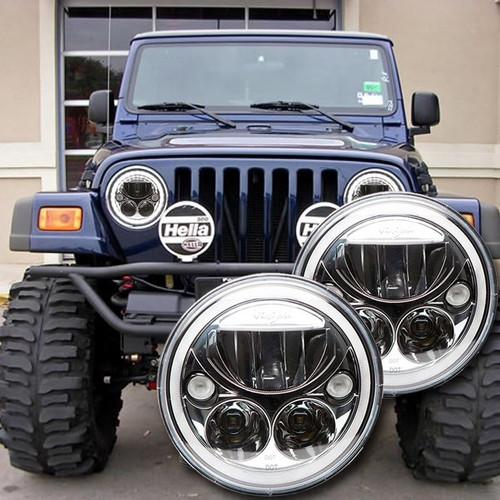 1996 2006 Jeep Wrangler Tj Led Headlight Kit Chrome