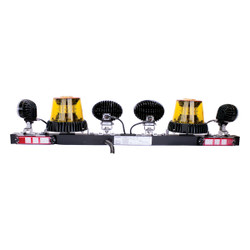 JW Speaker Model MB735 - 12V SAE LED Light Bar with 2 Amber Strobes