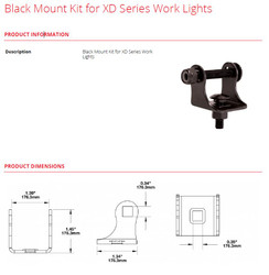 JW Speaker Black Mount Kit for XD Series Work Lights