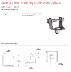 JW Speaker Stainless Steel Mounting Kit for Work Lights & Marine Lights