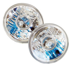 "7"" Round Chrome Projector-Style Reflector Headlight Housings - Sealed Beam"