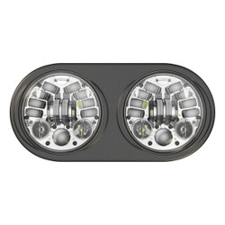JW Speaker 12V DOT/ECE LED High & Low Beam Adaptive Headlight w Chrome Inner Bezel - Pre-assembled 2 Light Kit