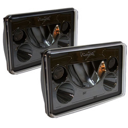 "Vision X Black Chrome Vortex 4x6"" Rectangular Dual Beam LED Headlights with Halo - Kit of 2 Lights"