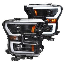 Ford F150 2015+ Anzo Black LED U-Bar and Halogen Projector Headlights