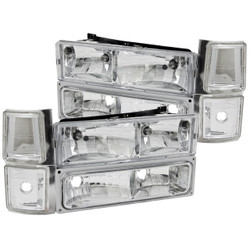 Anzo Chevy 1500, 2500, 3500, SUBURBAN and TAHOE Crystal Reflector Headlights - Chrome/Clear with Signal and Side Markers