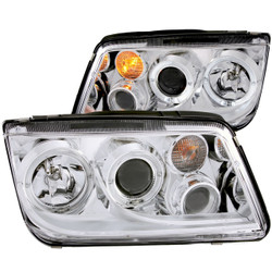 Anzo 1999-2005 Volkswagen Jetta Projector Headlights with Halo - Chrome/Clear with Fog Lights