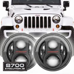 JW Speaker 8700 Evolution J2 Set of 2 LED Jeep Headlight Kit - Carbon Fiber Bezel