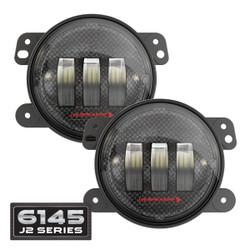 JW Speaker 6145 J2 Series LED Jeep Fog Light Kit (2 Lights) - Carbon Fiber Bezel