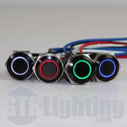 GTR Lighting LED Halo Switch: Black Bezel, Latching Switch