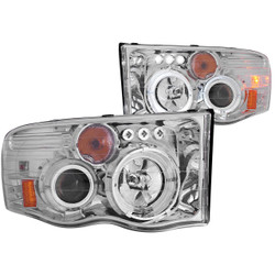 ANZO 2002-2005 RAM 1500 OR 2003-2005 2500/3500 PROJECTOR HEADLIGHTS CHROME G2 CLEAR