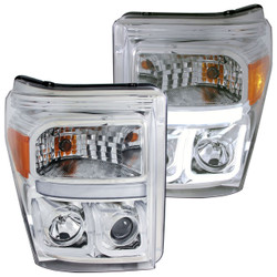 ANZO FORD 2011-2016 SUPERDUTY PROJECTOR HEADLIGHTS U-BAR CHROME CLEAR