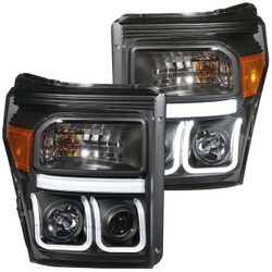 ANZO FORD 2011-2016 SUPERDUTY PROJECTOR HEADLIGHTS U-BAR BLACK CLEAR
