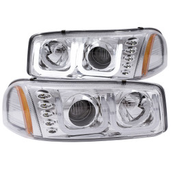 ANZO GMC SIERRA 1999-2006 PROJECTOR HEADLIGHTS U-BAR CHROME CLEAR