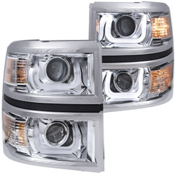 ANZO CHEVY SILVERADO 1500 2014-2015 PROJECTOR HEADLIGHTS U-BAR CHROME CLEAR