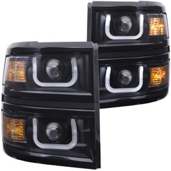 ANZO CHEVY SILVERADO 1500 2014-2015 PROJECTOR HEADLIGHTS U-BAR BLACK CLEAR