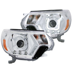 ANZO 2012 - 2015 TOYOTA TACOMA PROJECTOR HEADLIGHTS U-BAR CHROME CLEAR