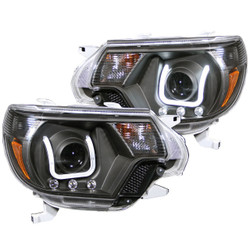ANZO 2012 - 2015 TOYOTA TACOMA PROJECTOR HEADLIGHTS U-BAR BLACK CLEAR