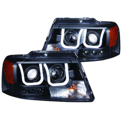 ANZO FORD F-150 2004-2008  PROJECTOR HEADLIGHTS U-BAR BLACK CLEAR