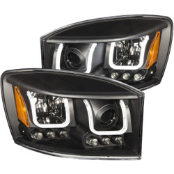 ANZO DODGE RAM 1500 2006-2008 / RAM 2500/3500 2006-2009 PROJECTOR HEADLIGHTS U-BAR BLACK CLEAR