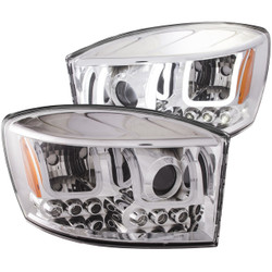 ANZO DODGE RAM 1500 2006-2008 / RAM 2500/3500 2006-2009 PROJECTOR HEADLIGHTS U-BAR CHROME CLEAR