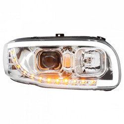 United Pacific 2008+ Peterbilt 388/389 Chrome Projection Headlight w/ LED Turn Signal & Light Bar - Passenger Side