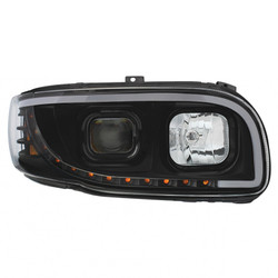 "United Pacific 2008+ Peterbilt 388/389 ""Blackout"" Projection Headlight w/ LED Turn Signal & Light Bar - Passengers Side"
