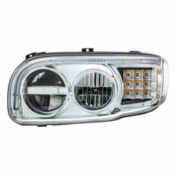 United Pacific 2008+ Peterbilt 388/389 Chrome LED Headlight with LED Turn Signal & LED Position Light Bar - Drivers Side
