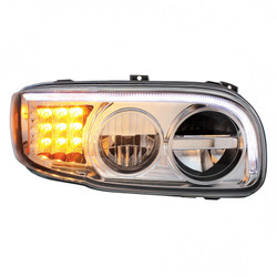 United Pacific 2008+ Peterbilt 388/389 Chrome LED Headlight with LED Turn Signal & LED Position Light Bar - Passengers Side