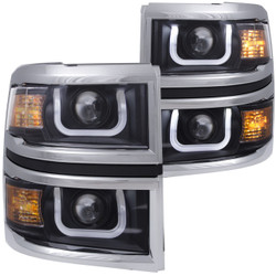 Anzo CHEVY SILVERADO 1500 14-15 PROJECTOR HEADLIGHTS U-BAR BLACK CLEAR w/ CHROME TRIM
