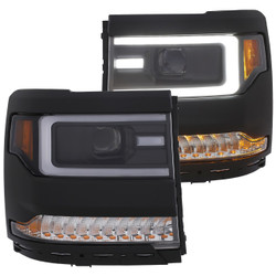 Anzo CHEVY SILVERADO 1500 16-18 PROJECTOR HEADLIGHTS W/ PLANK STYLE BLACK W/ AMBER SEQUENTIAL TURN SIGNAL
