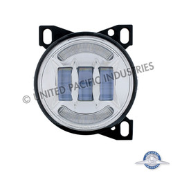 """United Pacific 4 1/4"""" Chrome Round LED Fog Light with LED Position Light for Peterbilt 579/587 & Kenworth T660 Series"""